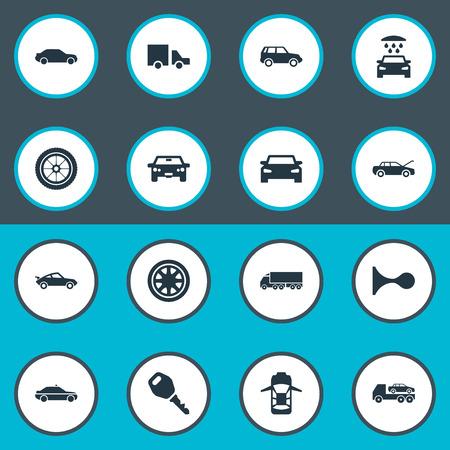 単純な交通機関アイコンのベクター イラスト セット。要素トラック ストップ、自動、トランスポート クリーニング、その他類義語警察シャワーと