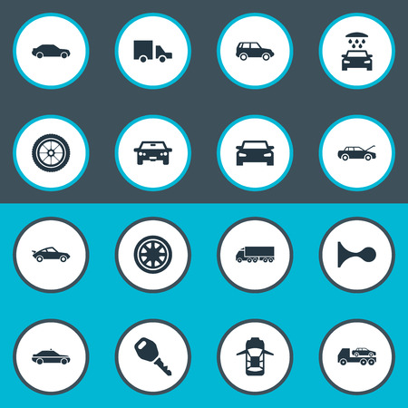 Vector Illustration Set Of Simple Transport Icons. Elements Lorry Stop, Auto, Transport Cleaning And Other Synonyms Police, Shower And Road. 向量圖像