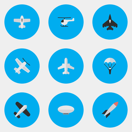 Vector Illustration Set Of Simple Plane Icons. Elements Plane, Balloons, Airliner And Other Synonyms Balloons, Man And Plane.