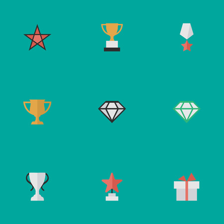 Vector Illustration Set Of Simple Reward Icons. Elements Award, Gemstone, Premium And Other Synonyms Goblet, Present And Award. Illustration
