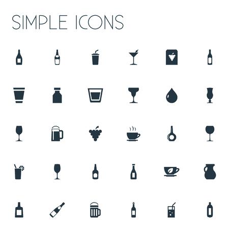 벡터 일러스트 레이 션 간단한 음료 아이콘의 집합입니다. 요소 투수, 주류, 칵테일 및 기타 동의어 Cappuchino, Jug and Liquid.
