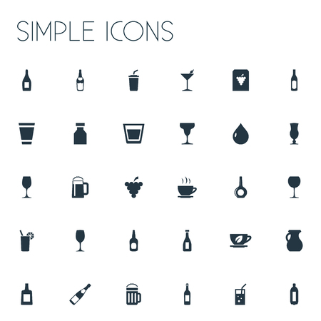 Vector Illustration Set Of Simple Beverage Icons. Elements Pitcher, Liquor, Cocktail And Other Synonyms Cappuchino, Jug And Liquid.