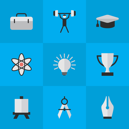 Vector Illustration Set Of Simple Knowledge Icons. Elements Easel, Bodybuilding, Measurement Dividers And Other Synonyms Molecule, Atom And Handbag.