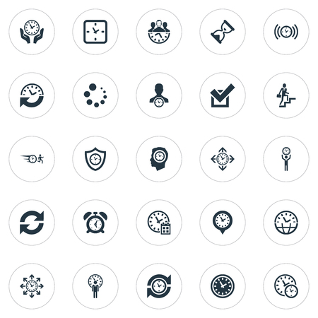 Vector Illustration Set Of Simple Time Icons. Elements Administrator, Saving, International And Other Synonyms Director, Repetition And Productivity.