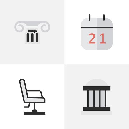Vector illustratie Set van eenvoudige kennis iconen. Elements University, Armchair, Date Block And Other Synoniemen Museum, Date And University.