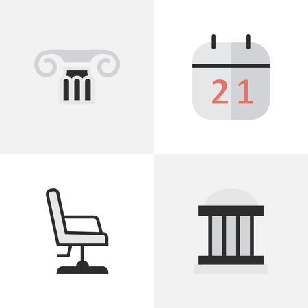 Vector Illustration Set Of Simple Knowledge Icons. Elements University, Armchair, Date Block And Other Synonyms Museum, Date And University.