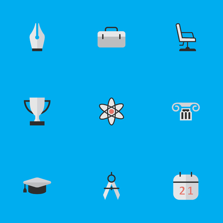 Vector Illustration Set Of Simple Knowledge Icons. Elements Measurement Dividers, Academic Hat, Goblet And Other Synonyms University, Column And Nuclear. Illustration
