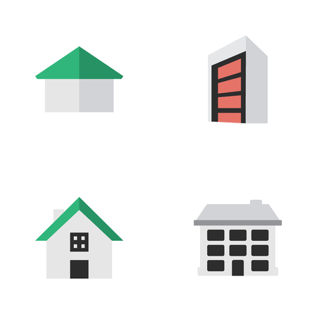 Vector Illustration Set Of Simple Estate Icons. Elements Construction, Structure, Architecture And Other Synonyms Construction, Building And Home.