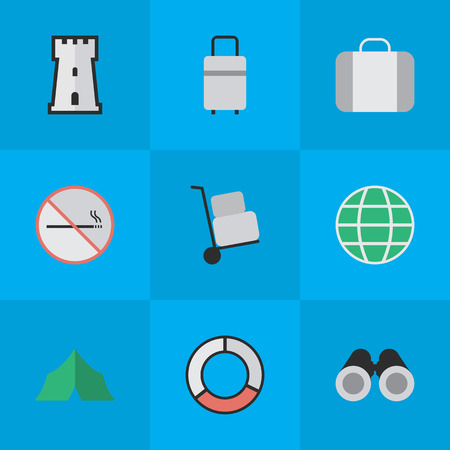 Vector Illustration Set Of Simple Holiday Icons. Elements Sea Rescue, Smoke Forbidden, World And Other Synonyms Tent, Cargo And Forbidden. Ilustração