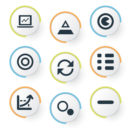 Vector Illustration Set Of Simple Analytics Icons. Elements Minus, Segment, Component And Other Synonyms Increase, Triangle And Minus.