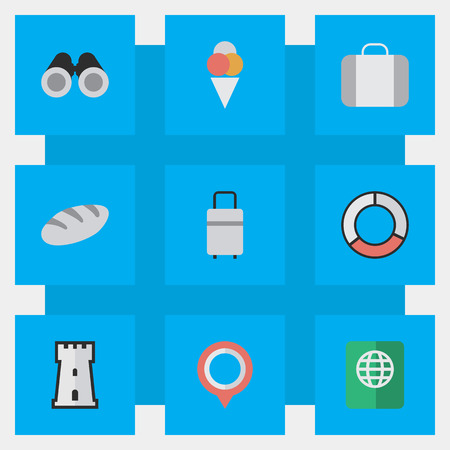 Vector Illustration Set Of Simple Travel Icons. Elements Tower, Bakery, Optical Zoom And Other Synonyms Location, Castle And Suitcase.