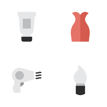 Vector Illustration Set Of Simple Beauty Icons. Elements Dress, Scrub, Toothpaste And Other Synonyms Bottle, Scrub And Toothpaste. Ilustração