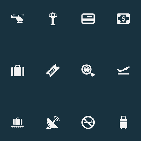 Vector Illustration Set Of Simple Airport Icons. Elements Flight Control Tower, Coupon, Travel Bag And Other Synonyms Case, Baggage And Coupon.