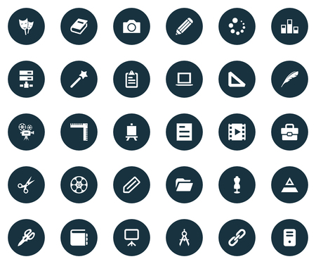 Vector Illustration Set Of Simple Icon Icons. Elements Cut, Triangle Ruler, Tag And Other Synonyms Reel, Retro And Checklist.