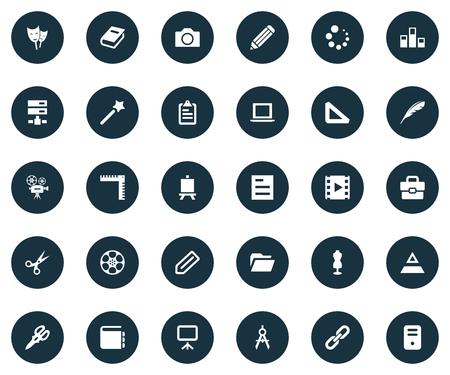 Vector illustratie Set van eenvoudige pictogram pictogrammen. Elements Cut, Triangle Ruler, Tag en andere synoniemen Reel, Retro en Checklist.