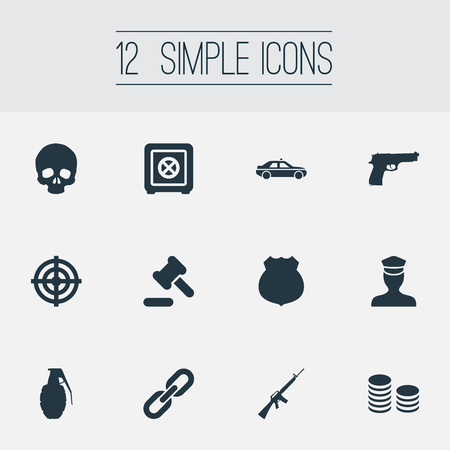 Vector Illustration Set Of Simple Fault Icons. Elements Pistol, Cash, Explode And Other Synonyms Policeman, Sheriff And Pistol. Illustration