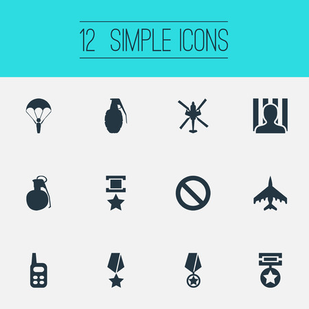 Vector Illustration Set Of Simple War Icons. Elements Jailer, Copter, Medal And Other Synonyms War-Plane, Prisoner And Grenade. Illustration