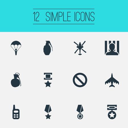Vector Illustration Set Of Simple War Icons. Elements Jailer, Copter, Medal And Other Synonyms War-Plane, Prisoner And Grenade. Ilustração