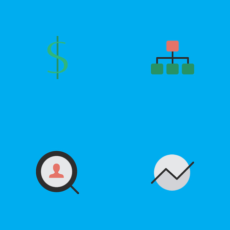 Vector Illustration Set Of Simple Business Icons. Elements Structure, Diagram, Dollar And Other Synonyms Money, Growing And Structure.