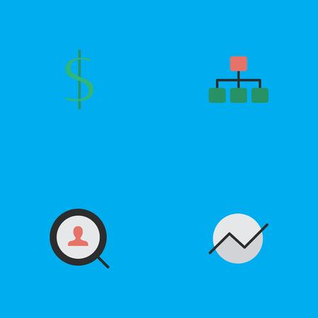Vectorillustratiereeks Eenvoudige Bedrijfspictogrammen. Elementen Structuur, Diagram, Dollar en andere synoniemen Geld, groei en structuur. Stock Illustratie