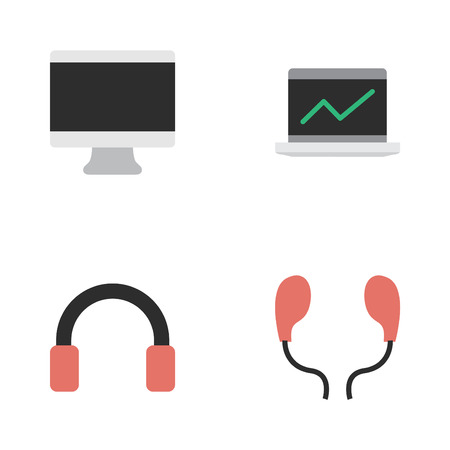 Vector Illustration Set Of Simple Instrument Icons. Elements Screen, Notebook, Headphone And Other Synonyms Statistics, Display And Earmuff.
