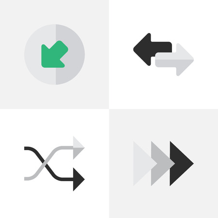 Vector Illustration Set Of Simple Arrows Icons. Elements Northwestward, Onward, Import And Other Synonyms Northwest, Onward And Northwestward. Illustration