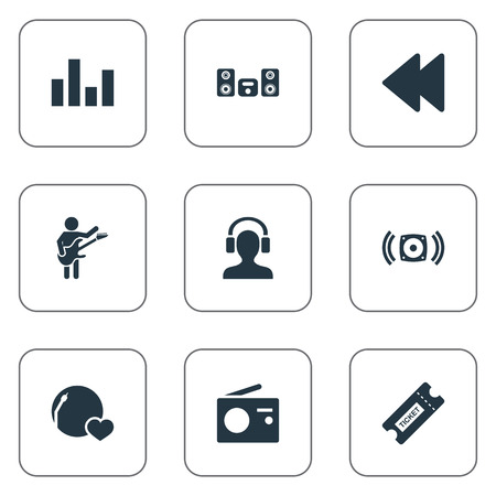 Vector Illustration Set Of Simple Sound Icons. Elements Stabilizer, Guitarist, Backwards And Other Synonyms Guitarist, Antenna And Loudspeaker. Illustration