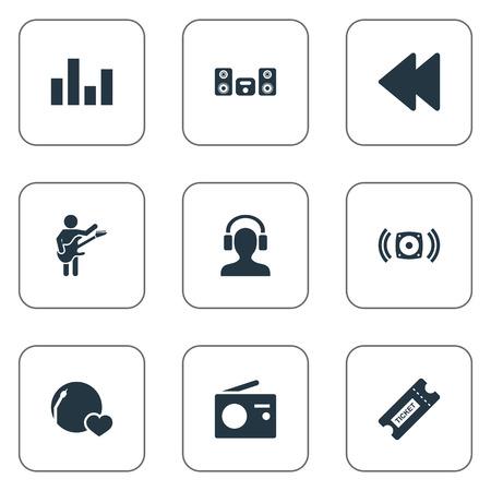 Vector illustratie Set van eenvoudige geluidspictogrammen. Elementen Stabilisator, gitarist, achteruit en andere synoniemengitarist, antenne en luidspreker. Stock Illustratie