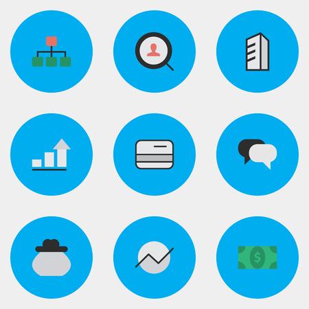 Vector Illustration Set d'icônes de commerce simple. Diagramme d'éléments, parler, payer et d'autres synonymes de construction, de plus en plus et carte de crédit. Banque d'images - 83461959