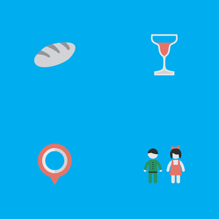 Vector Illustration Set Of Simple Vacation Icons. Elements Wine, Mark, Bakery And Other Synonyms Bread, Couple And Alcohol.