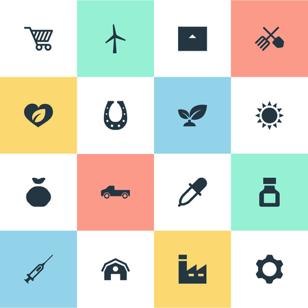 Vector Illustration Set Of Simple Agricultural Icons. Elements Turbine, Care, Pesticide And Other Synonyms Holdall, Industry And Store. Stock Vector - 83461963