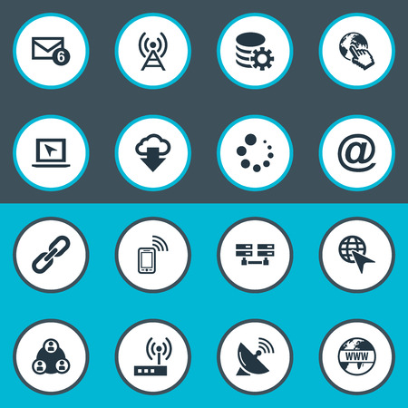 Vector Illustration Set Of Simple Web Icons. Elements Chain, Mail Sign, Teamwork And Other Synonyms Laptop, Mail And Loading.