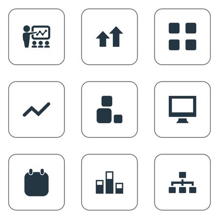 Illustration vectorielle définie des icônes de la formation simple. Vecteur d'éléments, structure, augmentation et autres synonymes Organisation, jour et blocs. Banque d'images - 83461969