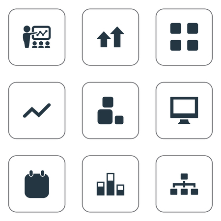 organisational: Vector Illustration Set Of Simple Training Icons. Elements Vector, Structure, Increase And Other Synonyms Organization, Day And Blocks. Illustration