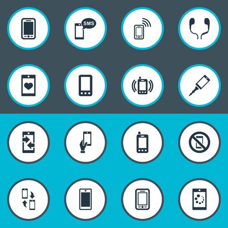 Vektor-Illustrations-Satz einfache Telefon-Ikonen. Elemente Kopplungsgerät, Ohrenschützer, Display und andere Synonyme verboten, Anzeige und Ausgang. Standard-Bild - 83461970
