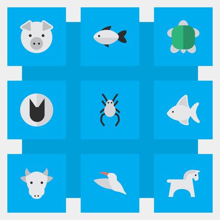 Vector illustratie Set van eenvoudige dieren pictogrammen. Elementen Schildpad, Ros, Tarantula en Andere synoniemen Schildpad, dier en melk.