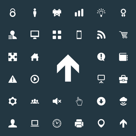 Vector Illustration Set Of Simple UI Icons. Elements Suitcase, Silence, Exclamation And Other Synonyms Screen, Photocopier And Nut.