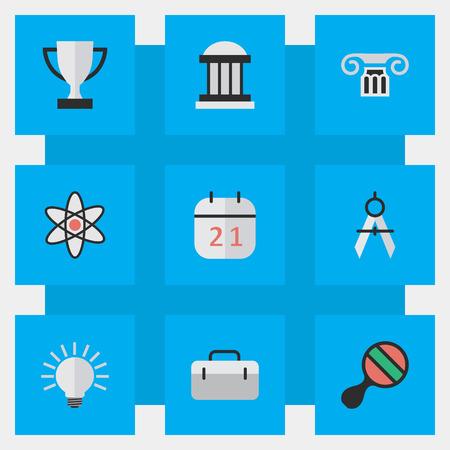 単純な知識アイコンのベクター イラスト セット。要素電球、ゴブレット、大学、他の同義語のスーツケース、Ping と建物。  イラスト・ベクター素材