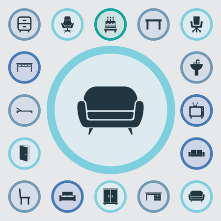 Vector Illustration Set Of Simple Furnishings Icons. Elements Office Armchair, Tv, Trestle And Other Synonyms Desk, Furniture And Birthday.