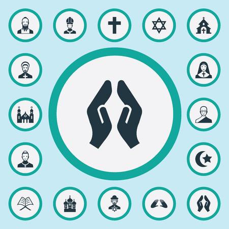 単純な信仰のアイコンのベクトル イラスト セット。要素寺、牧師、イスラム教徒と他の類義語法皇のコーランとデビッド。