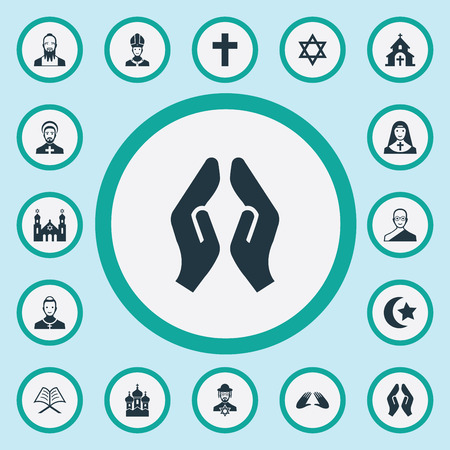 Vector Illustration Set Of Simple Faith Icons. Elements Temple, Chaplain, Muslim And Other Synonyms Pope, Koran And David. Illustration