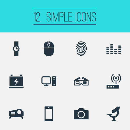 Vector Illustration Set Of Simple Gadget Icons. Elements PC, Smartphone, Accumulator And Other Synonyms Volume, Projector And Thumbprint.