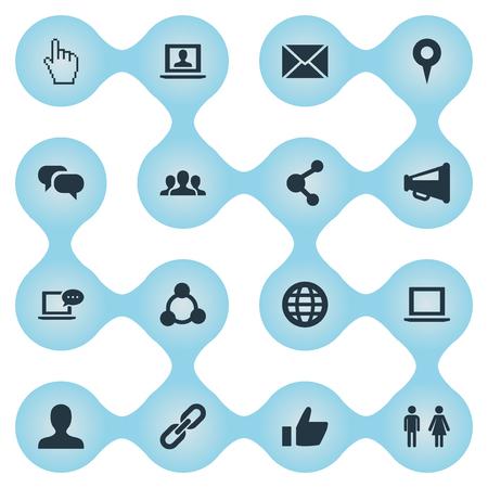 単純なメディア アイコンのベクター イラスト セット。要素文字、カーソル、新着メール、他の同義語を固定、性別、メッセージします。