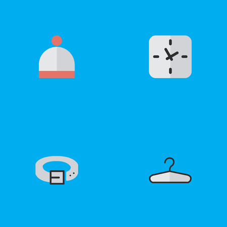 Vector Illustration Set Of Simple Accessories Icons. Elements Time, Clothes Hook, Strap And Other Synonyms Hanger, Wear And Time. Illustration