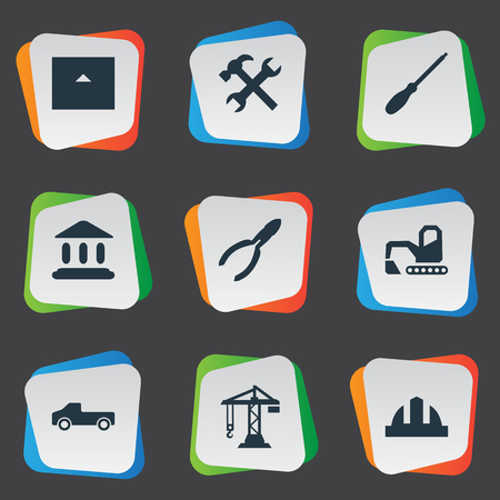 Vector Illustration Set Of Simple Work Icons. Elements Hoisting Machine, Academy, Workshop And Other Synonyms Screwdriver, Property And Headwear. Illustration