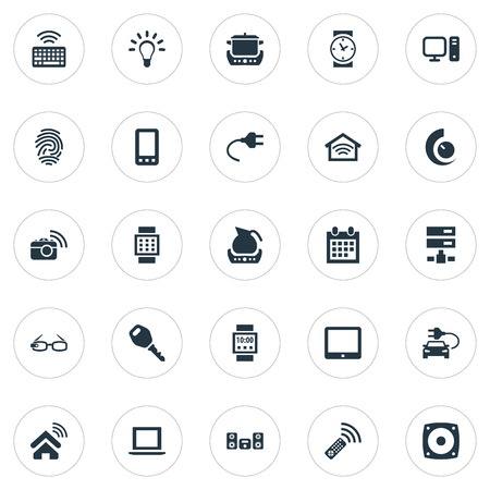 Vector Illustration Set Of Simple Internet Icons. Elements Keypad, Photography, Clock And Other Synonyms Photo, Connection And Electrical.