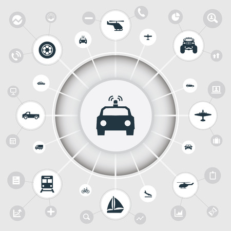 Vector Illustration Set Of Simple Transportation Icons. Elements Police Car, Aerocab, Motor And Other Synonyms Cop, Whirlybird And Yacht.
