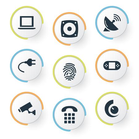 簡単なインターネットのアイコンのベクトル イラスト セット。要素の呼び出し、指紋、アンテナ、他の類義語のスピーカー、Iot と監視。