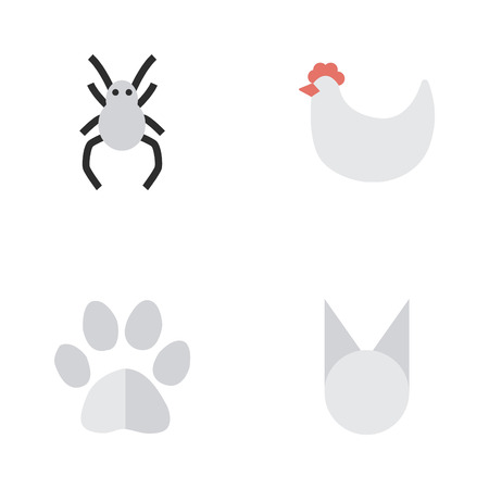 Vector Illustration Set Of Simple Wild Icons. Elements Cat, Foot, Tarantula And Other Synonyms Spider, Cock And Foot.