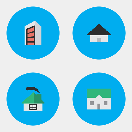 Vector Illustration Set Of Simple Property Icons. Elements Dwelling, Base, Construction And Other Synonyms Construction, House And Building.